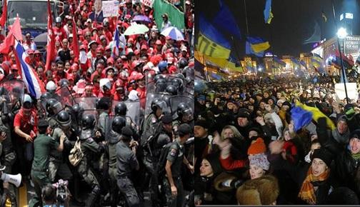 UKRAYNA VE TAYLAND'DA GERÇEKLEŞTİRİLEN PROTESTOLAR VE BATI'NIN YAKLAŞIMI